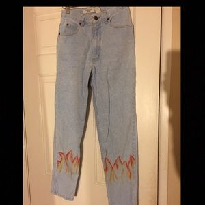 Denim - Vintage hand painted flame jeans size S